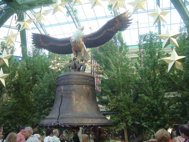 Liberty Bell replica in the conservatory at the Bellagio